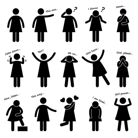 body language: Woman Girl Female People Person Basic Body Language Posture Stick Figure Pictogram Ico Illustration