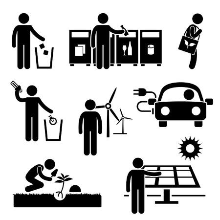 Man on recycler l'énergie verte de l'environnement Sauvegarde chiffre de bâton pictogramme Icône