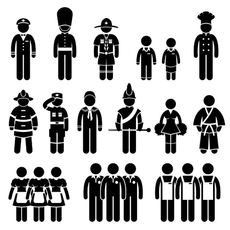 guards: Uniform Outfit Clothing Wear Captain Scout Guard Student Chef Fireman Soldier Army Sailor Trainee Employee Worker Staff Stick Figure Pictogram Icon