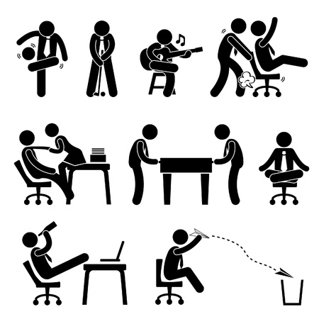 Employee Worker Staff Office Workplace Having Fun Playing Stick Figure Pictogram Icon Stock Vector - 19686418