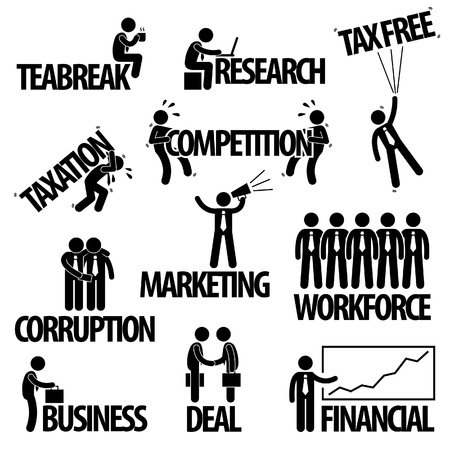corruption: Business Finance Businessman Entrepreneur Employee Worker Team Text Word Stick Figure Pictogram Icon