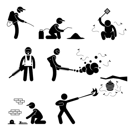 disease control: Exterminator Pest Control Stick Figure Pictogram Icon