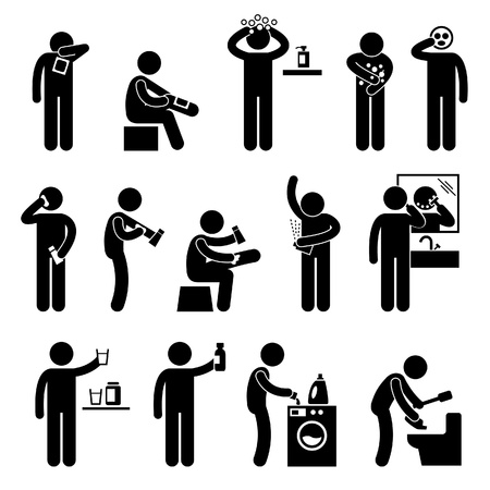 cleanliness: Man using Healthcare Product Hair Body Shampoo Lotion Facial Mask Eating Food Supplement Stick Figure Pictogram Icon Illustration