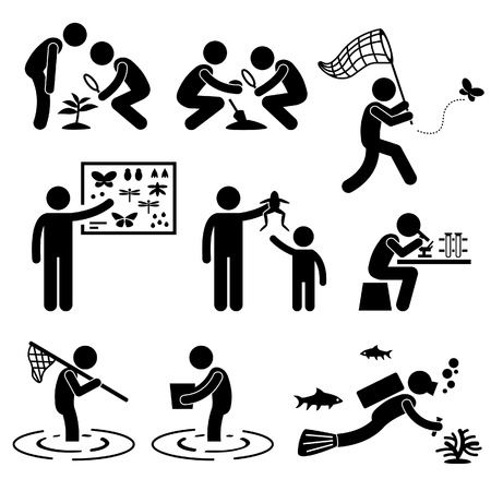 Man People Outdoor Activity Geologist Research Specimen Stick Figure Pictogram Icon Ilustração