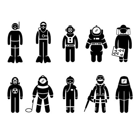 Scuba Diving Dive Deep Sea Spacesuit Biohazard Beekeeper Nuclear Bomb Airforce SWAT Volcano Protective Suit Gear Uniform Wear Stick Figure Pictogram Icon Vector