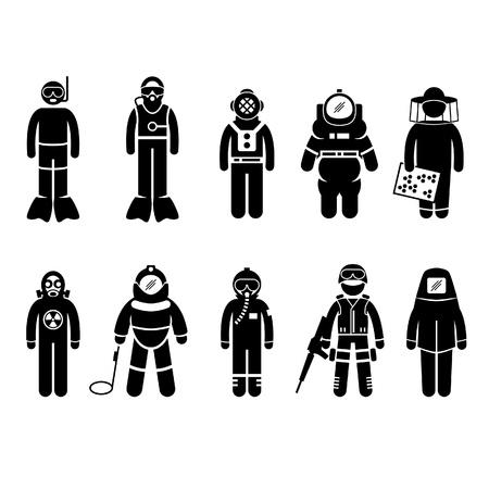 scuba diving: Scuba Diving Dive Deep Sea Spacesuit Biohazard Imker Atoombom Airforce SWAT Volcano Beschermende Suit Gear uniform dragen Stick Figure Pictogram Icoon