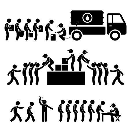 registration: Government Helping Citizen Water Food Stock Supply Community Relief Support Stick Figure Pictogram Icon Illustration
