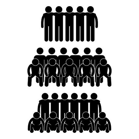 Menschen Mann Team Group Teamkollege Teamwork Partner Vereinigten Strichmännchen Piktogramm Icon Vektorgrafik