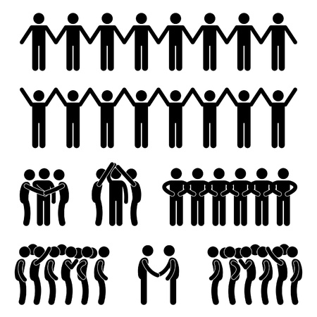 joining forces: Man People United Unity Community Holding Hand Stick Figure Pictogram Icon