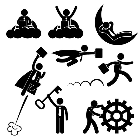ビジネス ビジネスマン概念成功したリラックスした幸せなスティック図絵文字アイコンを作業