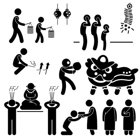 chinese buddha: Chinese Asian China Religion Culture Tradition Stick Figure Pictogram Icon Illustration