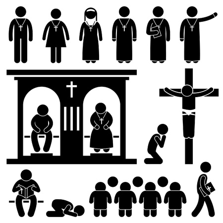 people in church: Christian Religion Culture Tradition Church Prayer Priest Pastor Nun Stick Figure Pictogram Icon Illustration