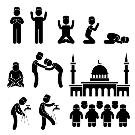 the religion: Islam Muslim Religion Culture Tradition Stick Figure Pictogram Icon Illustration