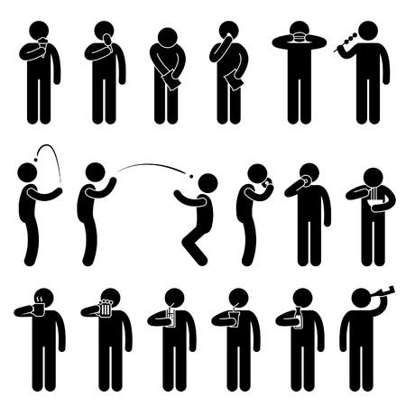 tentempi�: Hombre Gente que come comida de degustaci�n y bebidas Stick Figure Icono Pictograma Vectores