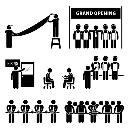 salesmen: Business Grand Opening Scissor Cutting Ribbon Hiring Employment Job Interview Stick Figure Pictogram Icon
