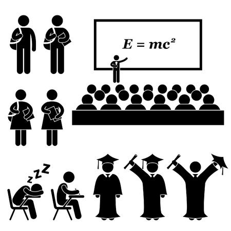 estudiante: Estudiante Profesor Teacher College School Graduate University graduación Stick Figure Icono Pictograma Vectores