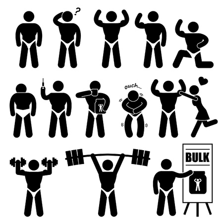Body Builder Bodybuilder Mens van de spier Workout Fitness Steroïde Stick Figure Pictogram Icoon Vector Illustratie