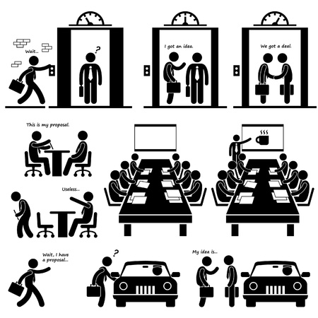 evaluation: Business-Vorschlag Idea Presentation Umsatz Elevator Pitch Investor Venture Capitalist Meeting Strichm�nnchen Piktogramm Icon