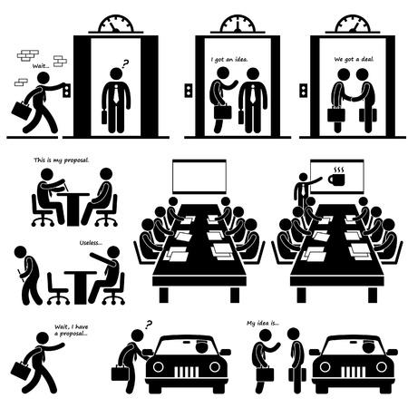 Proposta commerciale Idea Presentazione Vendite Elevator Pitch Investor Venture Capitalist Meeting Stick Figure Pittogramma Icona Vettoriali