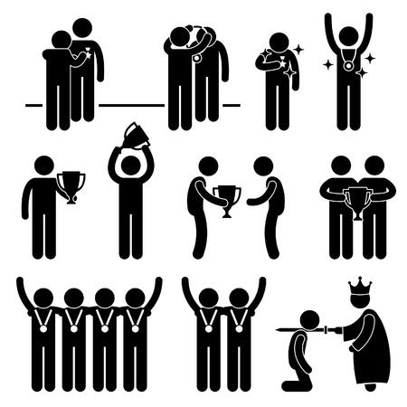 strichmännchen: Man erhält Auszeichnung Trophy Medal Reward Prize Ritter Ehre Honor Ereignis Feierliche Veranstaltung Strichmännchen Piktogramm Icon