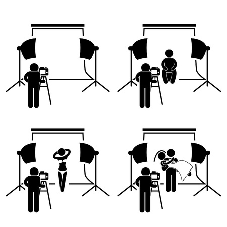 sexy woman lingerie: Photographer Studio Photography Shoot Stick Figure Pictogram Icon