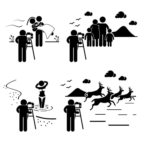 Wedding Family Model Wildlife Photographer Photography Stick Figure Pictogram Icon Stock Vector - 20283639