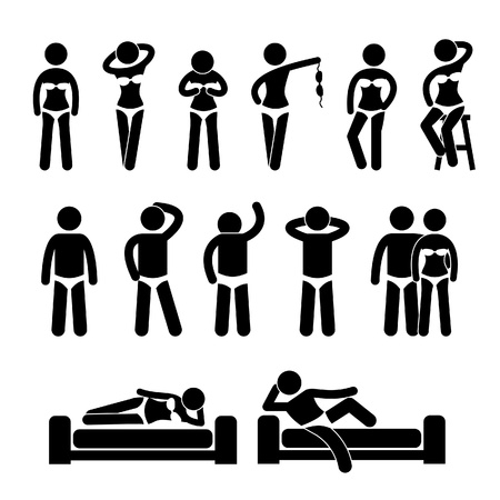 Sexy Lingerie Underwear Model Male Female Posing Poses Stick Figure Pictogram Icon Stock Vector - 20283631