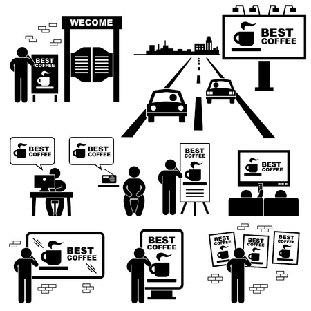 highways: Advertisement Board Billboard Marketing Frame Stick Figure Pictogram Icon