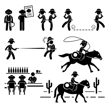 wanted poster: Cowboy Wild West Duel Bar Horse Stick Figure Pictogram Icon Illustration