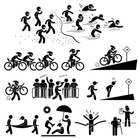 atletisch: Triathlon Marathon Zwemmen Fietsen Sport Running Stick Figure Pictogram Icon Symbol Stock Illustratie