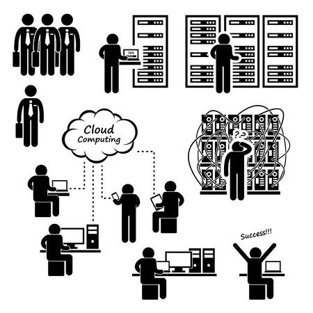 computadora caricatura: IT Ingeniero Técnico de Administración Computer Network Cloud Computing Center Stick Figure Icono Pictograma Data Server Vectores