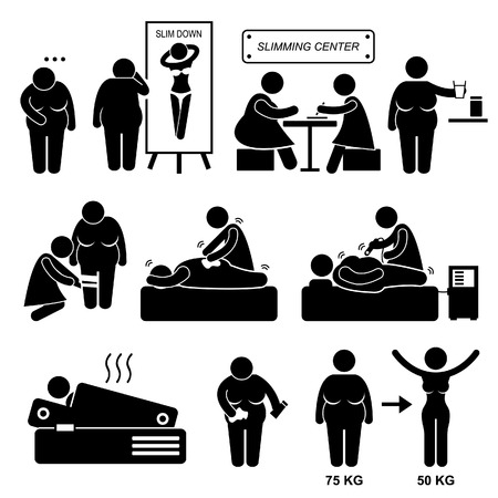 Adelgazamiento Centro grasa Sobrepeso Mujer Tratamiento de belleza Spa Stick Figure Icono Pictograma Foto de archivo - 23205447