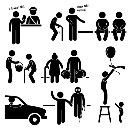 Kind Good Hearted Man Helping People Stick Figure Pictogram Icon Ilustração