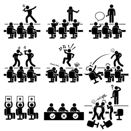 talent show: Judges Audition Singing Performance Talent Show Stick Figure Pictogram Icon Illustration