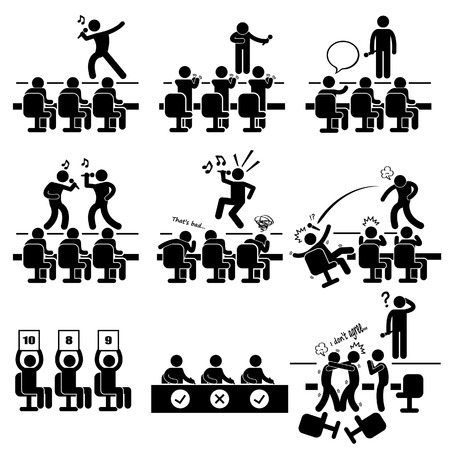 Jueces Audition Singing Performance Talent Show Stick Figure Icono Pictograma