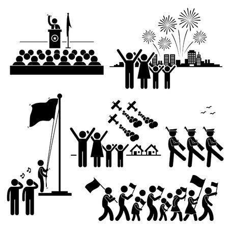 Les gens célèbrent la Journée indépendance patriotique vacances en traits pictogramme icône nationale Vecteurs
