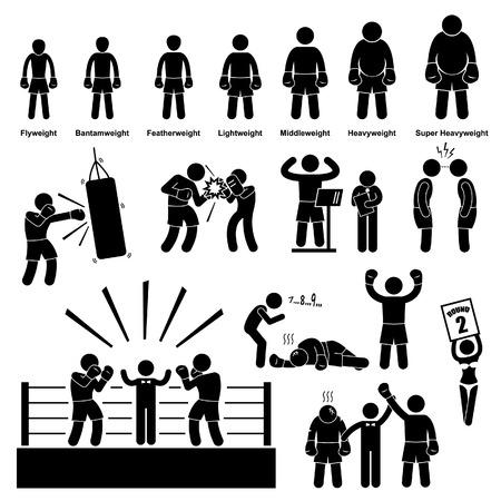 bonhomme allumette: Boxe Boxer chiffre de b�ton pictogramme Ic�ne Illustration