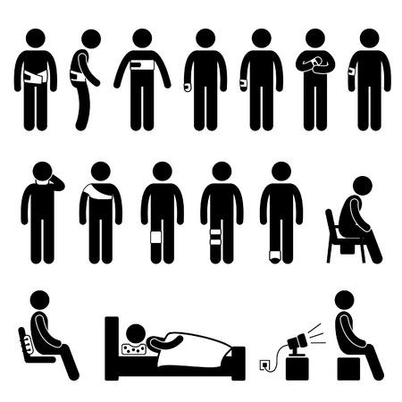 Corps humain, équipement de soutien Outils blessures douleur chiffre de bâton pictogramme Icône Vecteurs