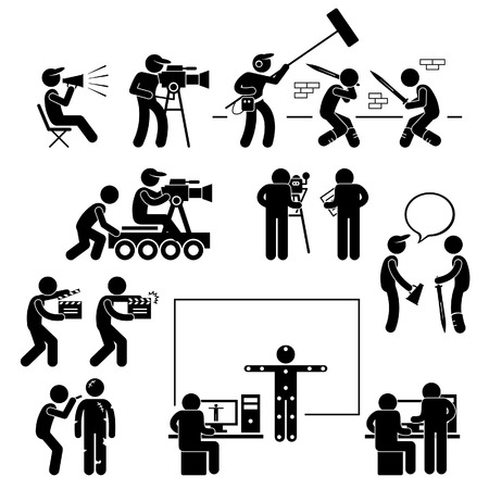 Director Making Filming Movie Production Actor Stick Figure Pictogram Icon Ilustracja