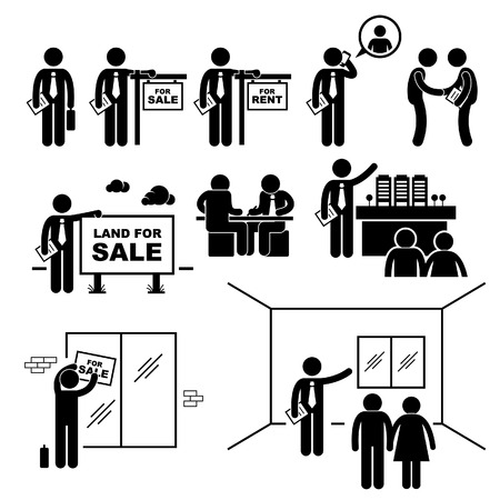 property agent: Property Agent Real Estate Client Customer Stick Figure Pictogram Icon Illustration