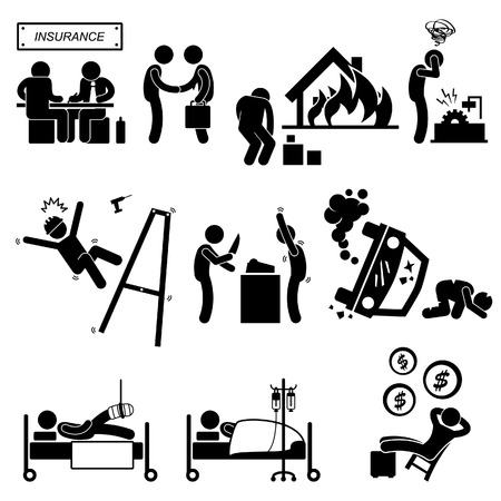 cartoon accident: Insurance Agent Property Accident Robbery Medical Coverage Relieve Stick Figure Pictogram Icon Illustration