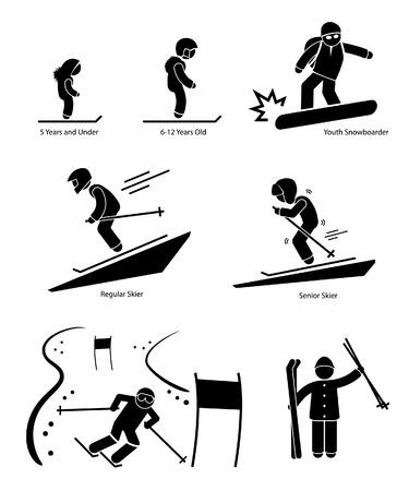 스키: 스키어 스키 사람들이 나이 카테고리 구분 스틱 그림 픽토그램 아이콘