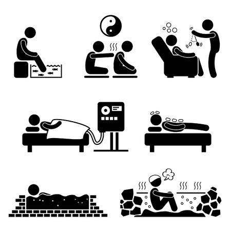 Alternate Therapies Medical Treatment Fish Spa Qi Gong Crystal Colon Cleansing Hypnosis Mud Hot Spring Stick Figure Pictogram Icon Stock Vector - 23866037