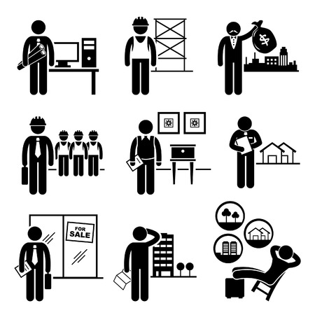 건축가: 건설 부동산 채용 직종 채용 - 설계자, 시공 업체, 투자자, 관리자, 인테리어 디자이너, 자산 평가사, 세일즈맨, 구매자, 투자자