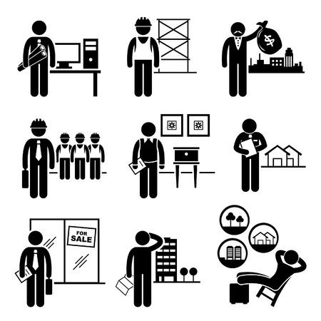 Budownictwo Nieruchomości Praca Zawody Praca - Architekt, Wykonawca, Inwestor, kierownik, projektant wnętrz, rzeczoznawcy majątkowego, Sprzedawca, Kupujący, Inwestor Ilustracje wektorowe