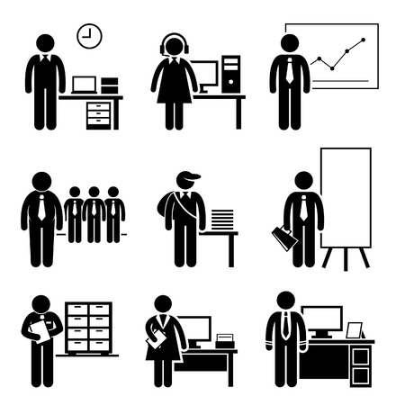 Office Jobs Occupations Careers - Staff Employee, Help Desk Support, Analyst, Runner, Manager, Marketing, Auditor, Secretary, CEO Vector