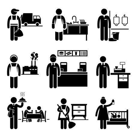 저소득층 채용 직종 채용 - 쓰레기 남자, 식기 세척기, 청소부, 공장 노동자, 패스트 푸드 서버, 캐셔, 웨이터, 가정부, 보모 일러스트