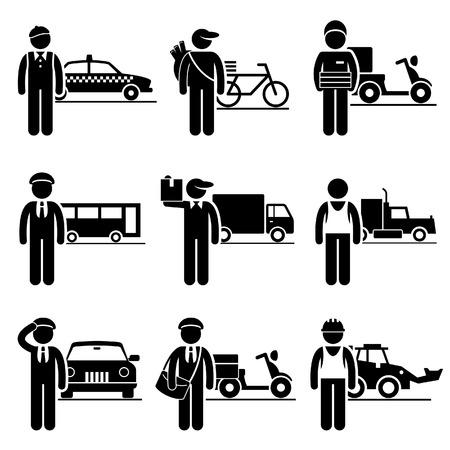 드라이버 배달 채용 직종 채용 - 택시, 신문, 피자, 버스, 움직이는, 트럭, 운전사, 우편 배달, 건설 차량 일러스트