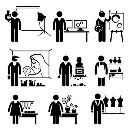 craftsmen: Designer Artistico Jobs Occupazioni carriere - Fotografo, grafico, pittore, Murale Artista, Scultore, ceramica, Artigianato, Fioraio, Moda Vettoriali