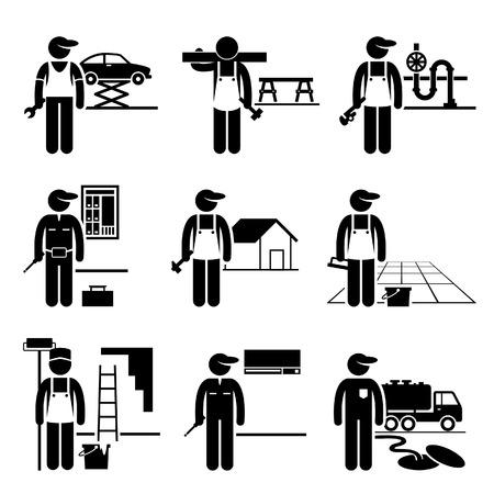 mekanik: Handyman Labor Labour kvalificerade jobb Yrken Karriär - bilmekaniker, snickare, rörmokare, elektriker, takläggare, Golv, Målare, luftkonditionering Man, Septic Tank Tjänst Illustration